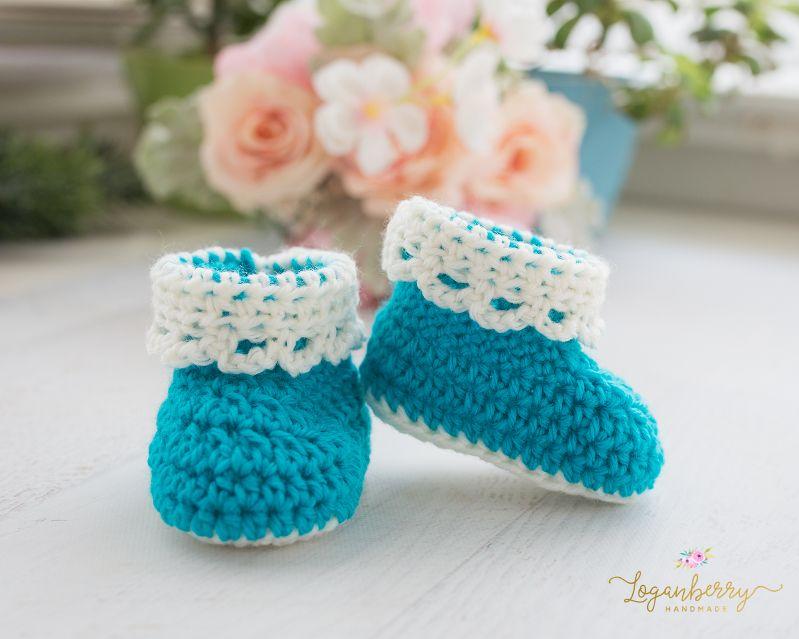 Lace Trim Baby Booties Free Crochet Pattern Tutorial