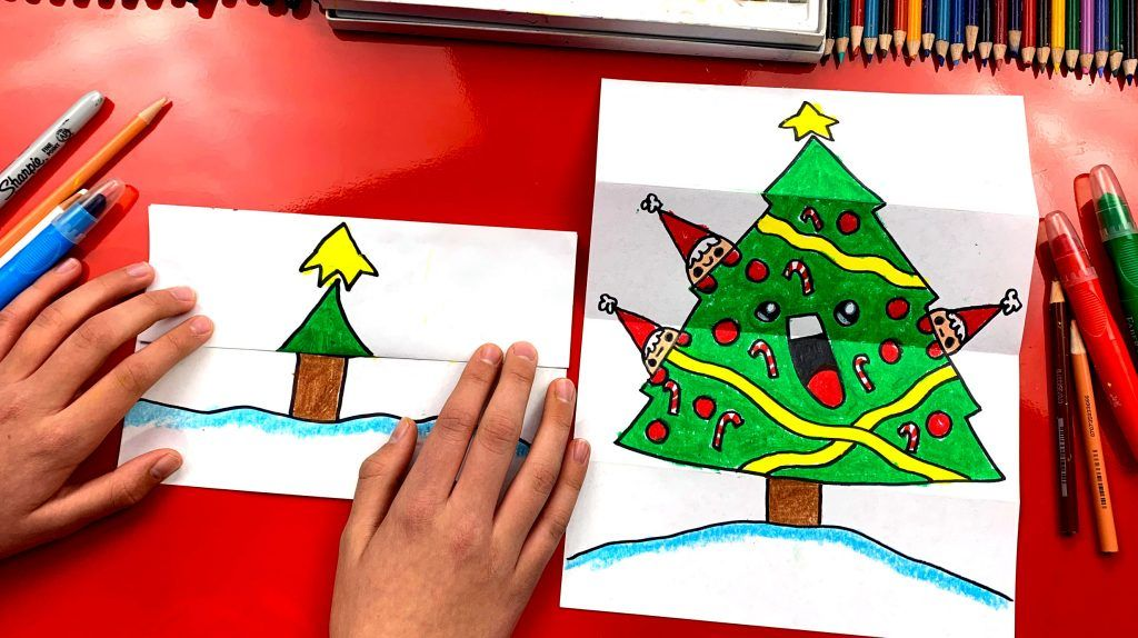 How To Draw A Christmas Tree Folding Surprise Art For Kids Hub Art For Kids Hub Easy Drawings For Kids Drawings