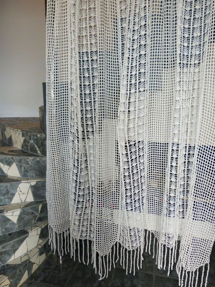 Vintage Retro Shabby Chic Hand Crocheted Cotton Lace Curtain In