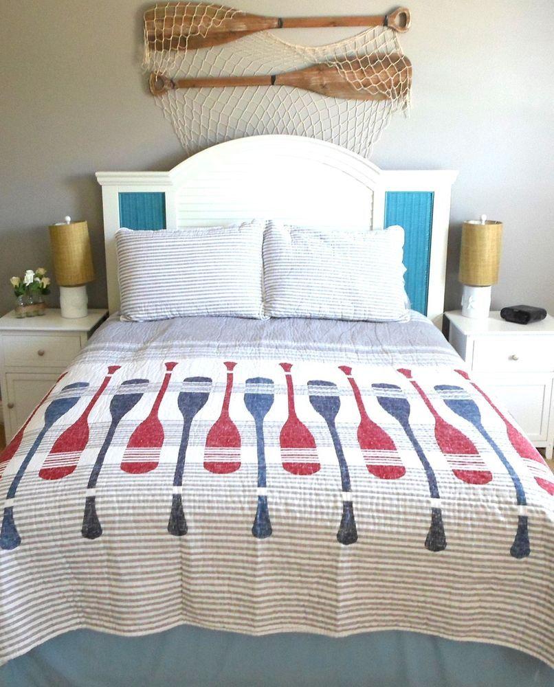 max studio coastal full queen bed quilt and shams nautical beach