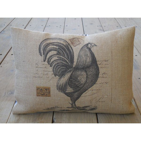 French Rooster Burlap Pillow French Postcard Farmhouse Pillows Cool French Pillows Home Decor
