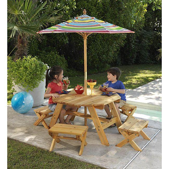 Octagon Table 4 Benches With Multi Striped Umbrella Children S