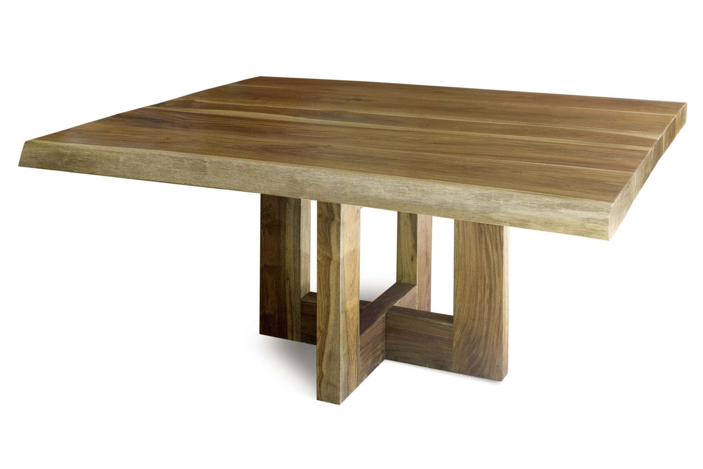 Contemporary rectangle unfinished reclaimed wood table for for Square dining table designs