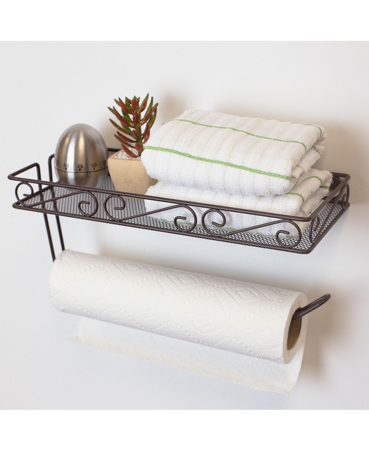 Home Basics Hds Trading Scroll Collection Wall Mounted Paper Towel Holder With Basket Reviews Home Macy S Towel Holder Paper Towel Holder Home Basics