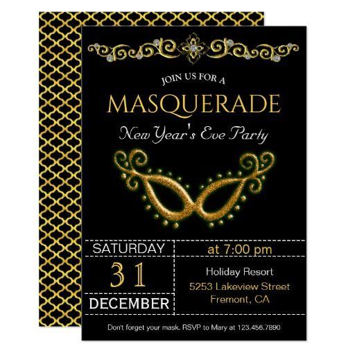 Gold New Year's Eve Masquerade Party Invitation | Zazzle ...