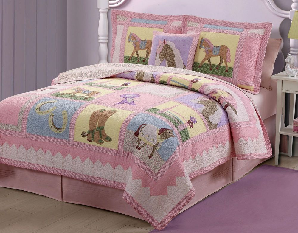 GIDDY UP Twin QUILT SET : GIRLS PONY HORSE PINK COWGIRL BEDDING ... : pony quilt - Adamdwight.com