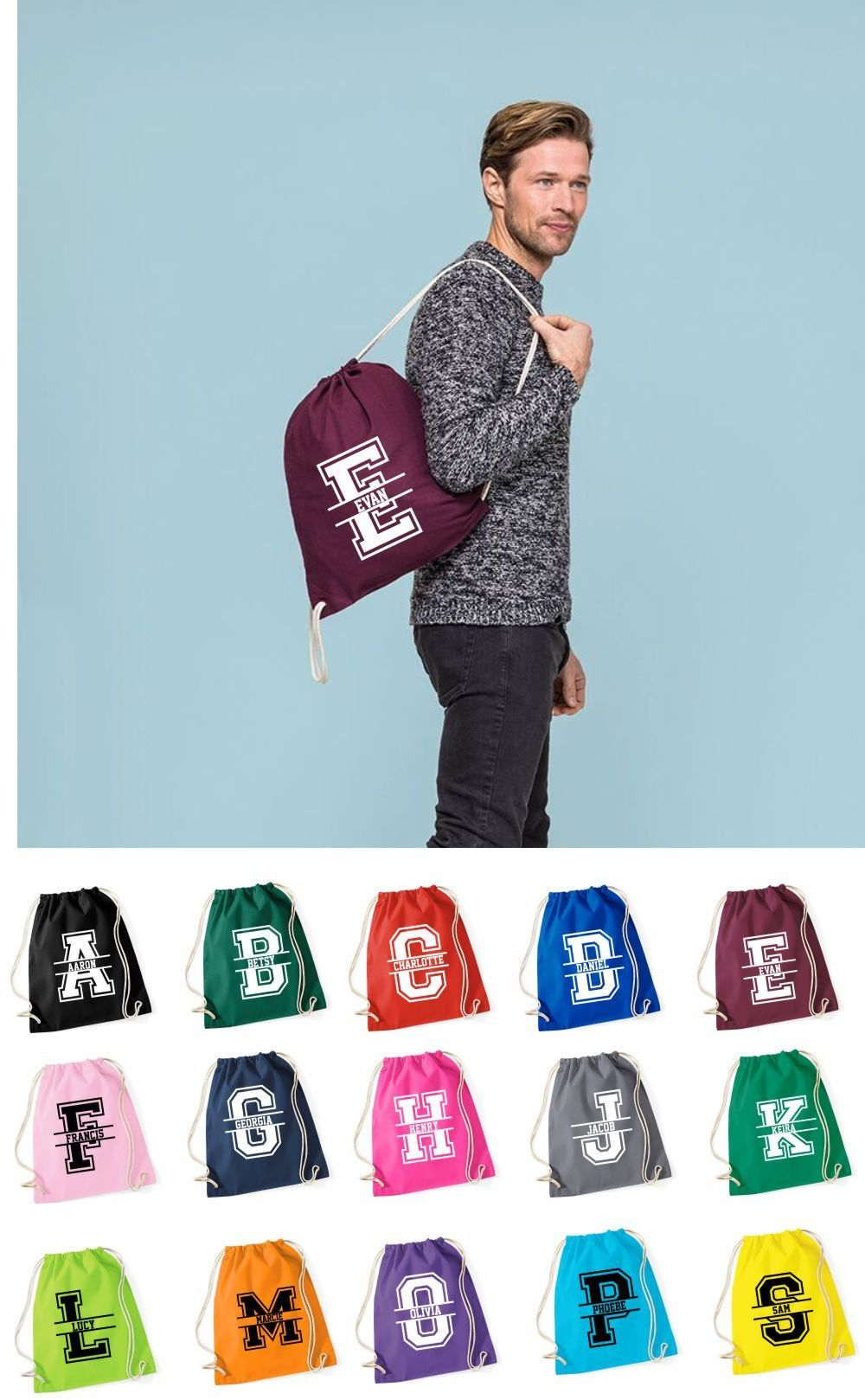 Personalised Break Dance//Tote//School//PE Drawstring Bag