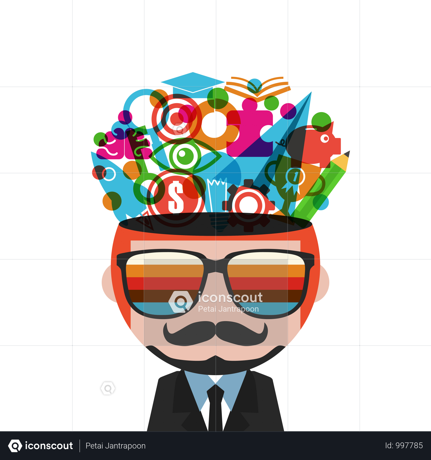 Premium Imagination Concept Man Thinking Isolated On White Background Illustration Download In Png Vector Format Illustration Hand Drawn Lettering White Background