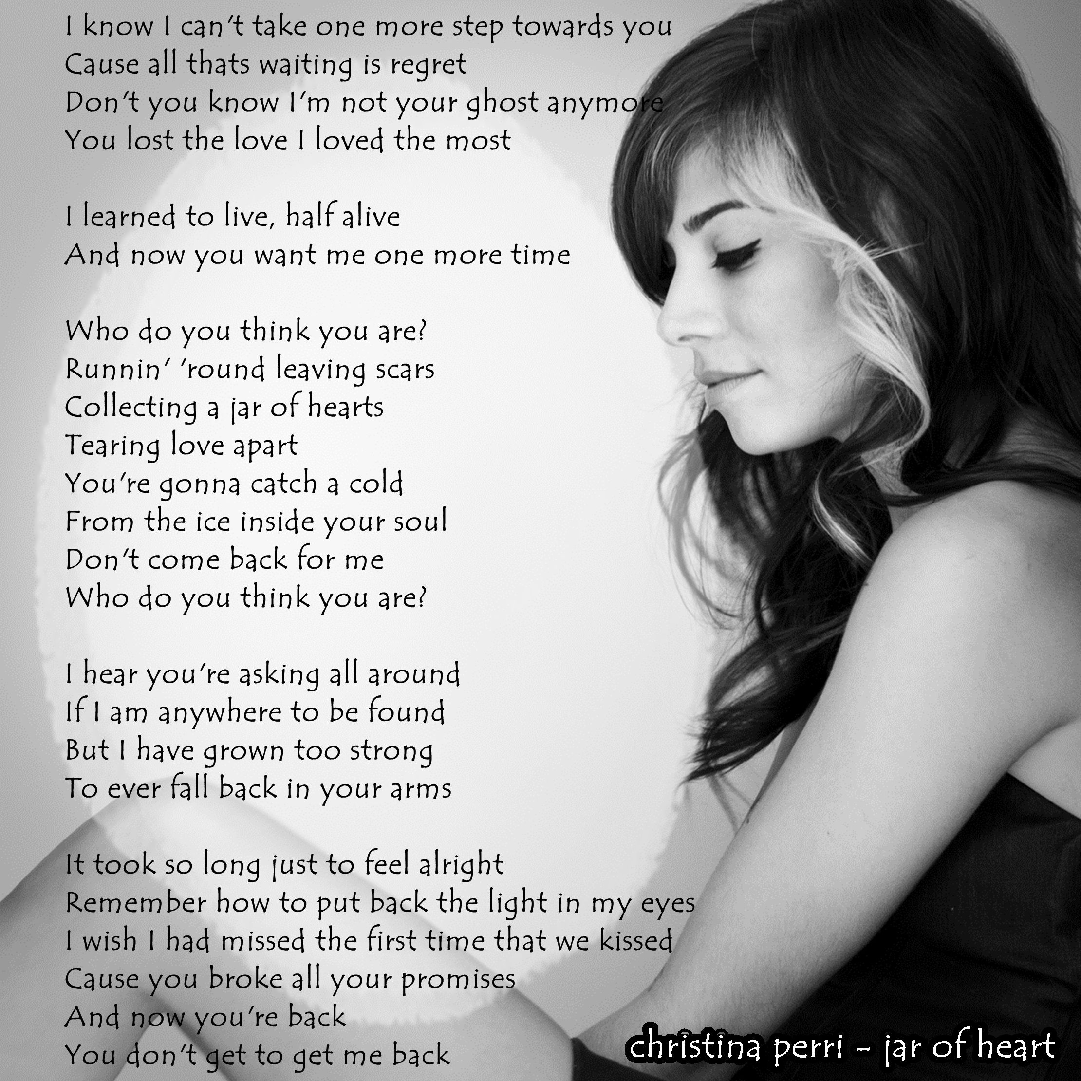christina perri - jar of heart | songlyrics | Pinterest ...
