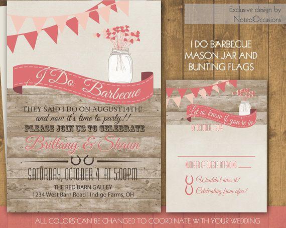 I Do BBQ Wedding Reception Invitation Wedding Reception Only Mason - i do bbq wedding invitations