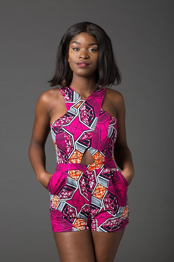 0b9db9ef1086 African romper Ankara romper african print playsuit by Laviye ...