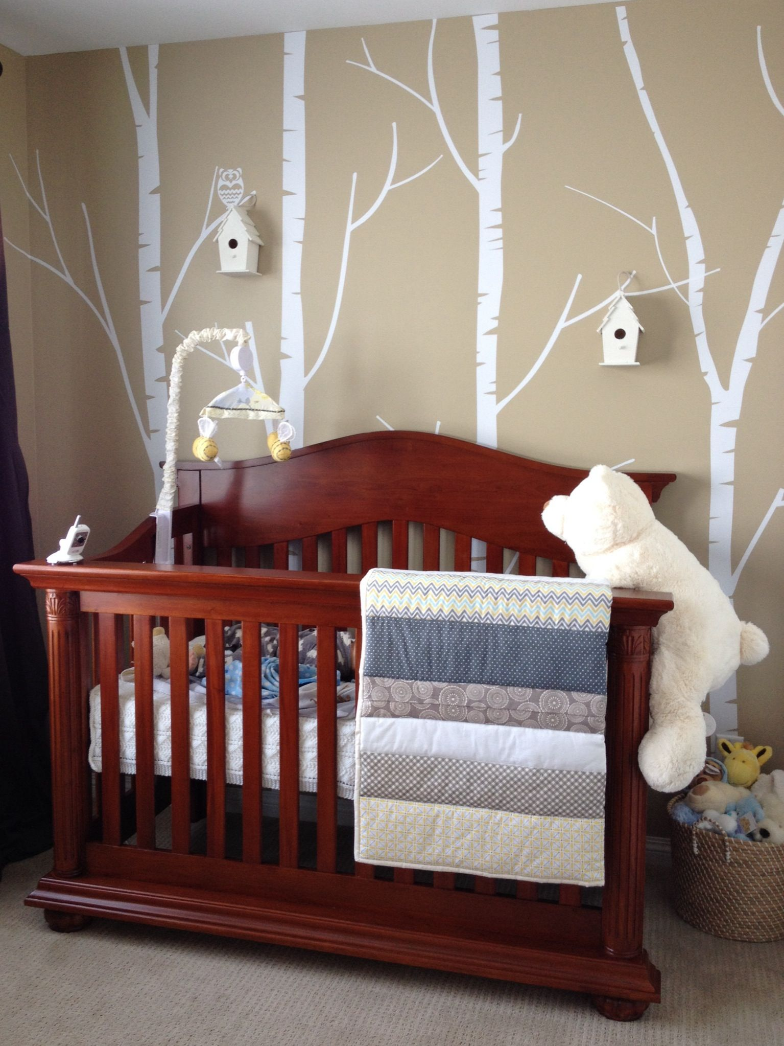 Birch tree wall decal from Etsy. Outdoor themed baby room ...