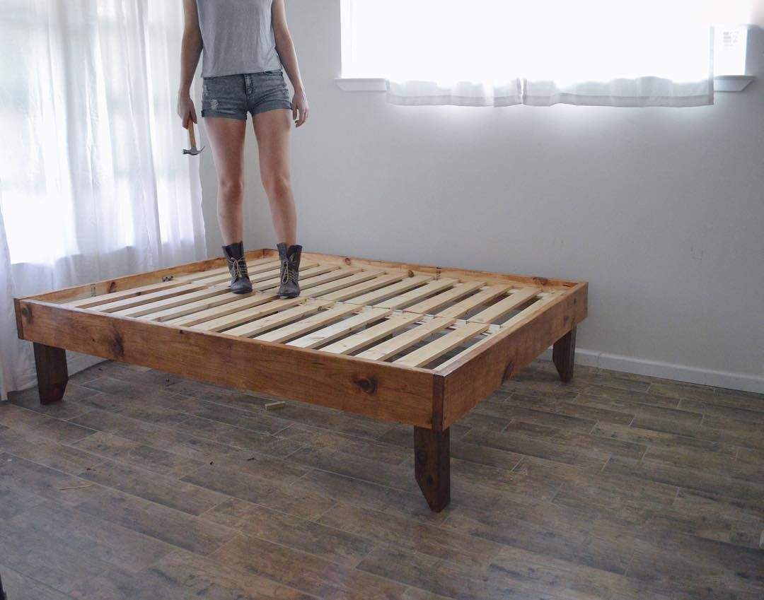 Handmade Rustic Wooden Bed Frame Wooden Bed Frames Wooden Bed Frame Diy Wooden Bed Frame Rustic