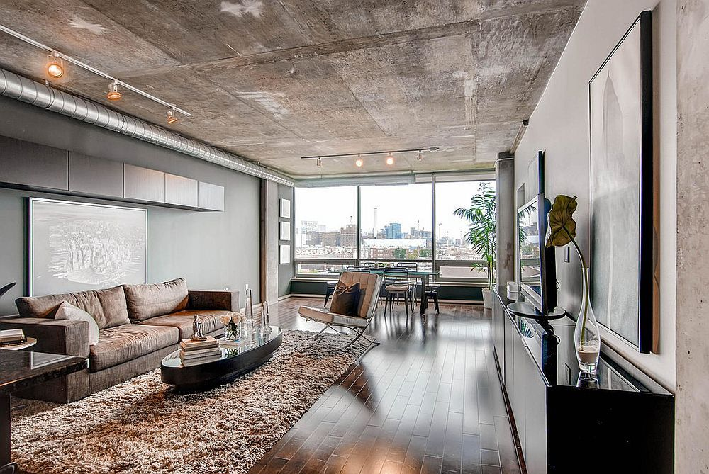 10 Contemporary Rooms with Concrete Ceiling is part of Industrial Living Room Concrete - Versatile, strong, durable and an essential component of the urban landscape, concrete can be found pretty much all around us  Of course, we need to generally dig a little before we uncover that layer of rough, unpolished concrete under stucco, stone, wood or any other material that is used to cover up its stoic presence  […]
