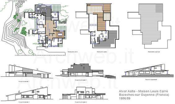 Maison Louis Carré By Alvar Aalto   Floor Plans And Elevations