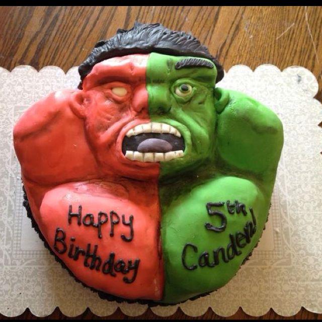 Green vs Red Hulk cake I made today Via wwwfacebookcom