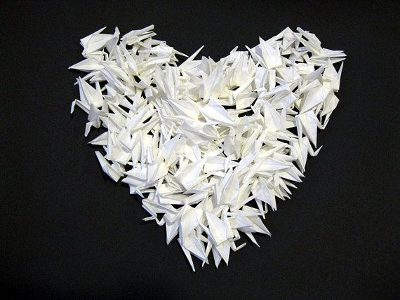1000 3 White Origami Cranes Paper Wedding Party Decoration Single Color