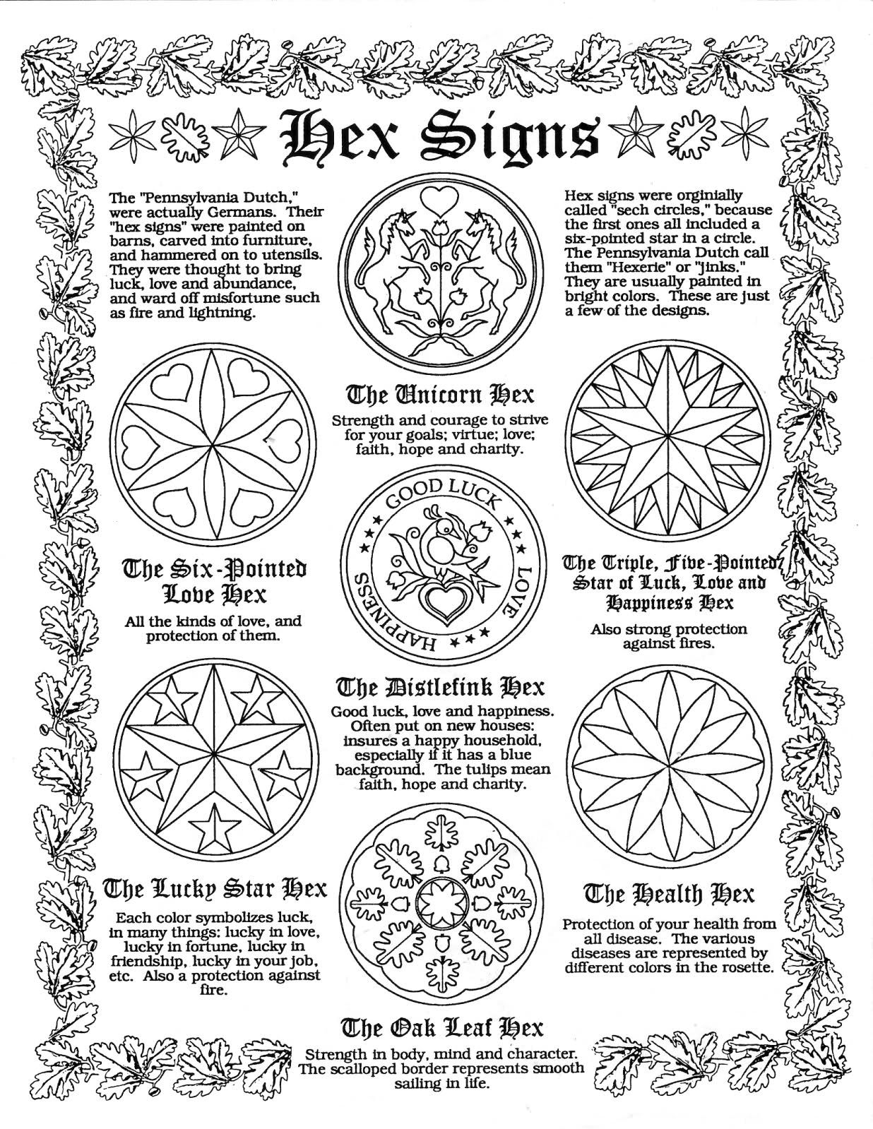 Hex Signs Parchment Page For Book Of Shadows Pagan Wicca Witch