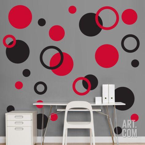 Black Red Polka Dots Wall Decal At Art Com Polka Dot Wall Decals Polka Dot Walls Wall Paint Designs