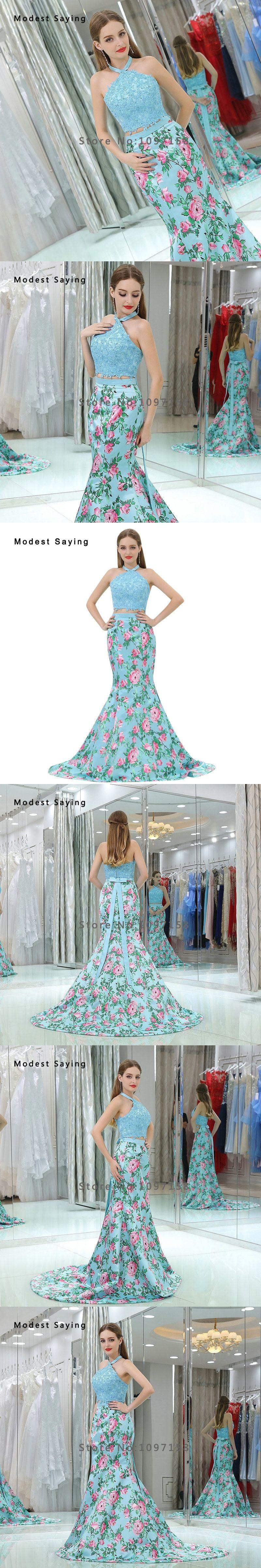 Elegant light blue mermaid floral printed piece beaded lace prom