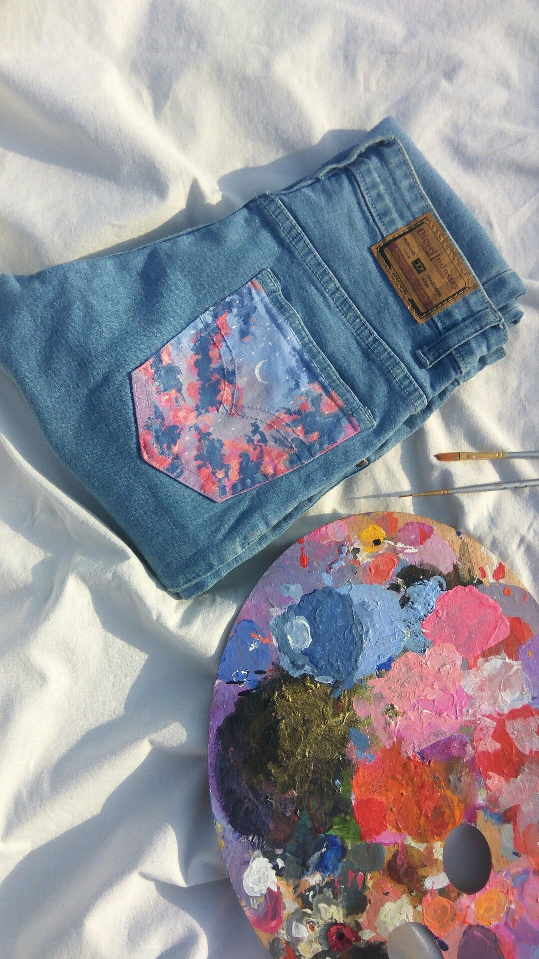 Painting on jeans, painting on denim, aesthetic painting
