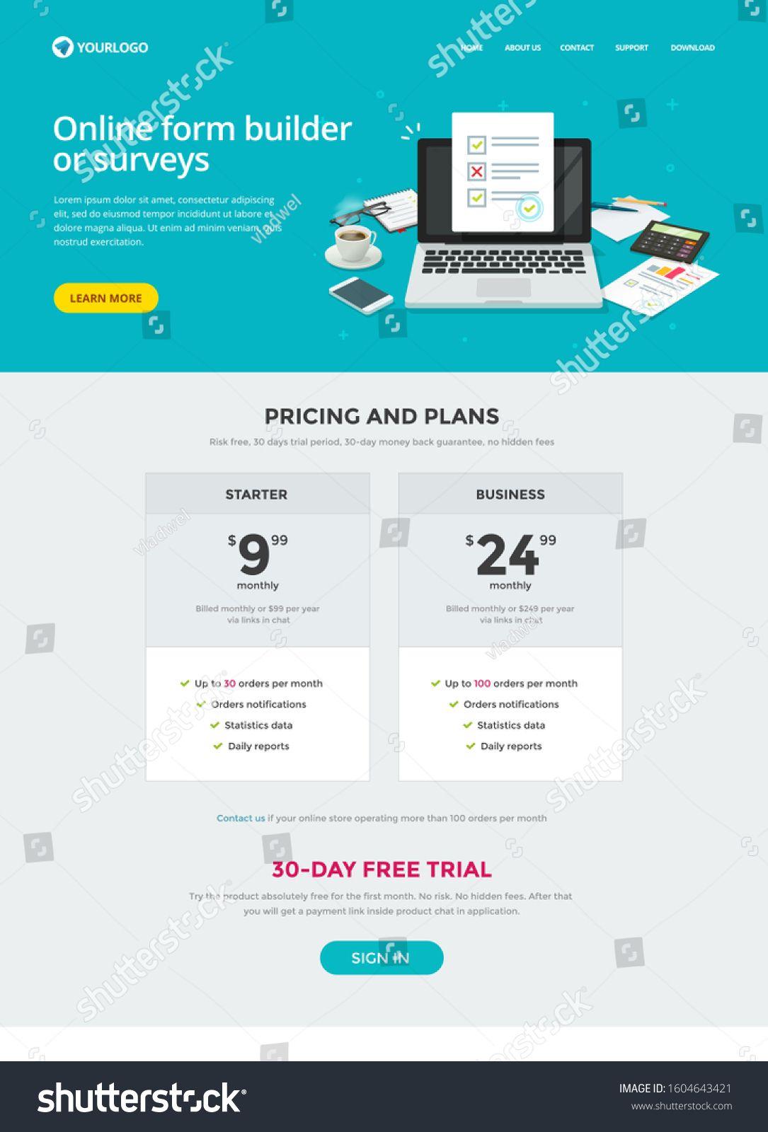 Survey form builder web site template design or