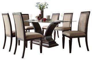 Charmant $1311.00 Homelegance Plano 7 Piece Glass Dining Room Set With U Shaped Base