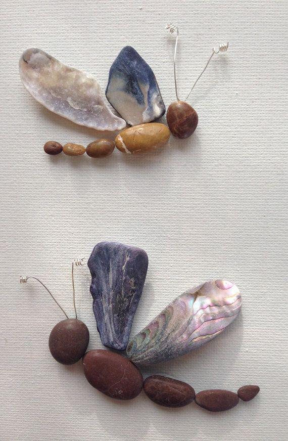 kiesel seashell kunst libellen gerahmte von emilysnatureemporium collage pinterest. Black Bedroom Furniture Sets. Home Design Ideas