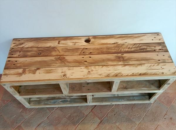Rustic Handmade Pallet Entertainment Center And TV Stand.