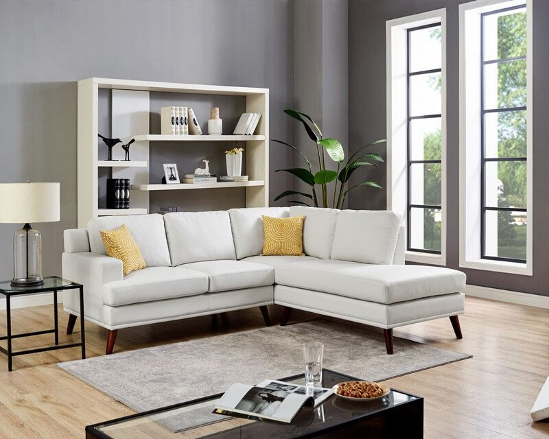 Admirable Oah D6142 2 Pc Denver White Faux Leather Sectional Sofa With Pdpeps Interior Chair Design Pdpepsorg