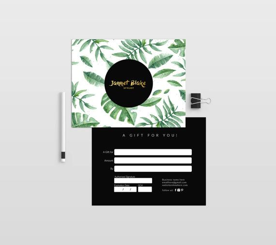 Tropical double sided gift certificate template - Instant download - fresh younique gift certificate template