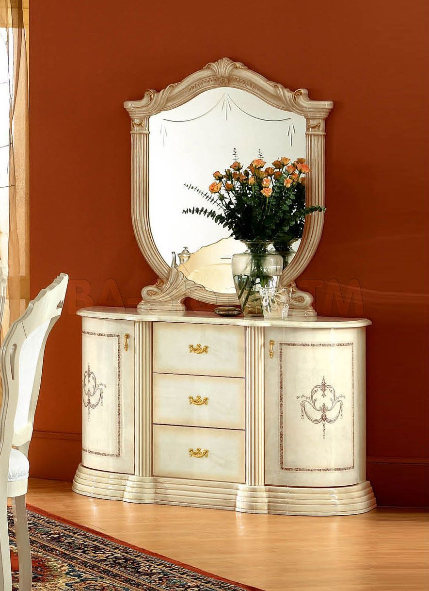 Rosella 2 Door Buffet And Mirror In Ivory By Esf Buffets And