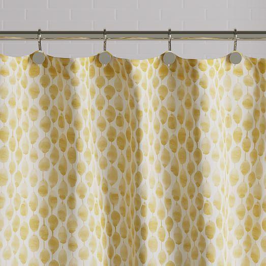 Organic Stamped Dots Shower Curtain Horseradish Yellow Shower