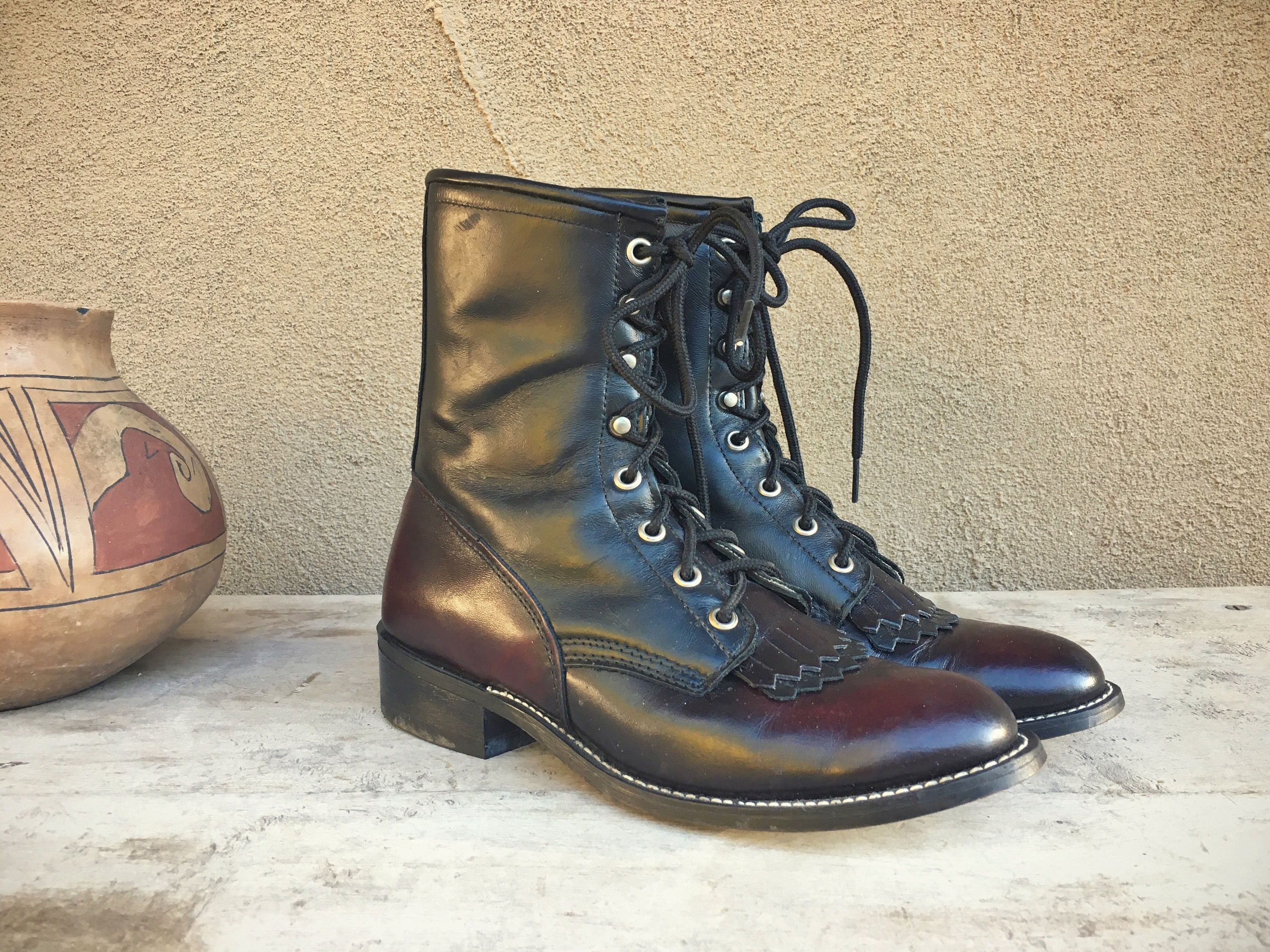 8be32ad685a0c Lace up ankle boots granny style vintage Laredo Made in USA cowgirl ...