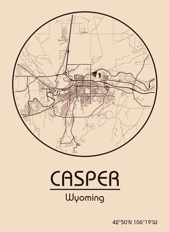 Karte / Map ~ Casper, Wyoming - Vereinigte Staaten von Amerika ... on