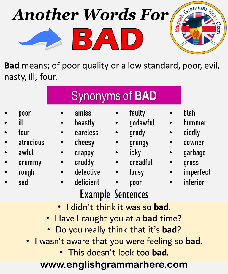 Another Word For Bad What Is Another Synonym Word For Bad Every Language Spoken Around The World Has Another Word For Bad Words For Bad Learn English Words