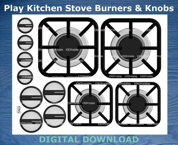 Printable Stove Burners, Play Kitchen Accessories, DIY Stove ...