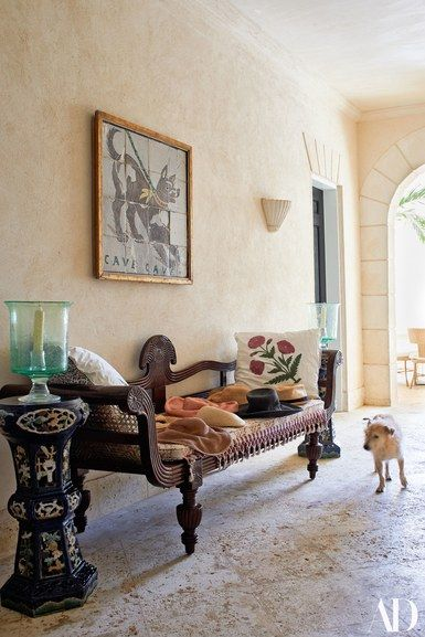 Bob, A Terrier Mix, Stops In Front Of An Antique Anglo Indian Bench In The  Breezeway. Brigitte Singh Pillows | Archdigest.com