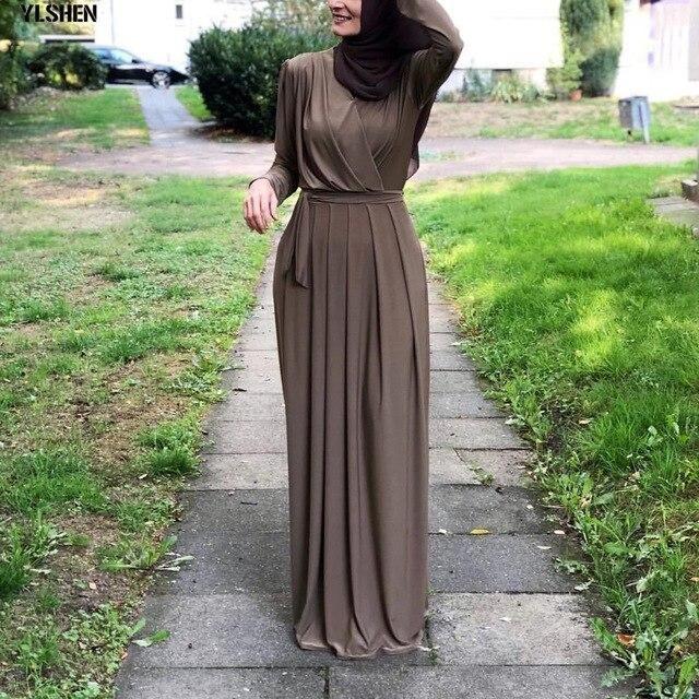 2019 Muslim Ramadan Dress Abaya Dubai Long Sleeve Pleated Maxi Dresses Kaftan Robe Islamic Dress Jubah Middle East Eid Islamic In 2021 Muslim Dress Women S A Line Dresses Hijab Dress