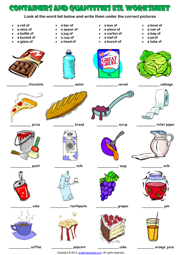 Containers And Quantity Esl Exercises Worksheet
