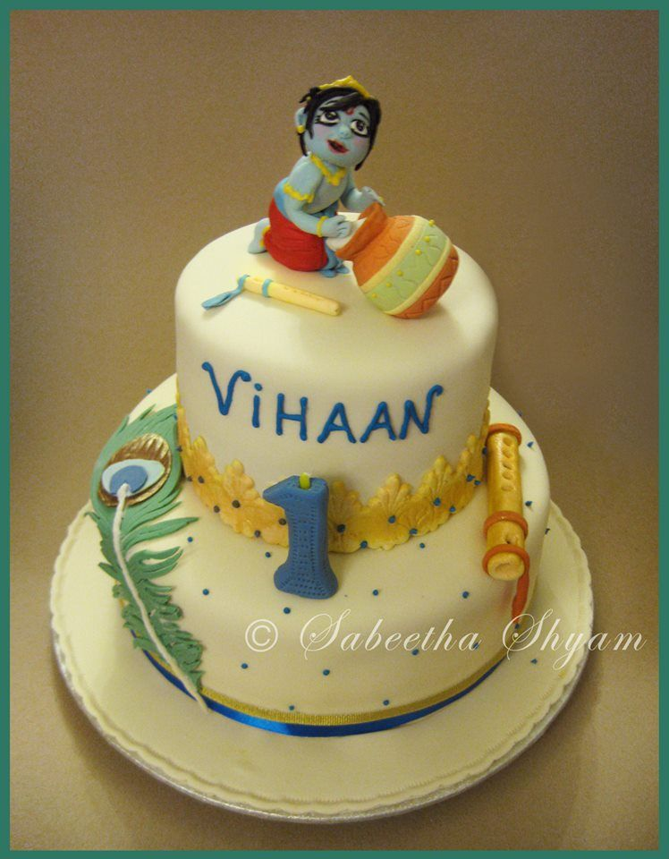 Cute Krishna Theme Cake For The Special Krishna In Your Life