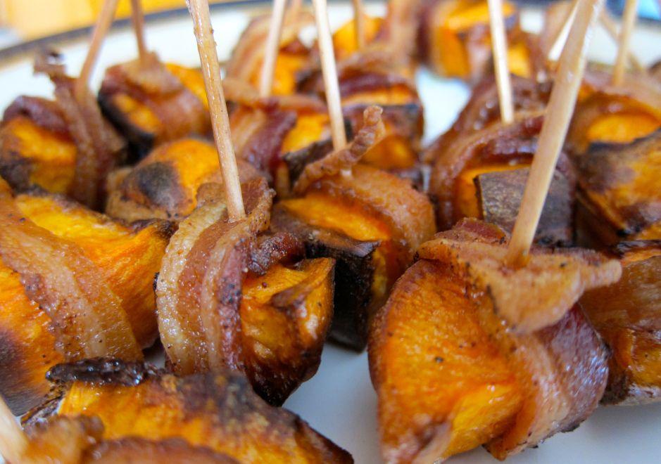 Bacon Wrapped Sweet Potato Bites