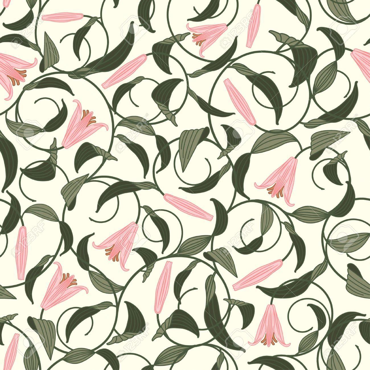 Art nouveau flower pattern