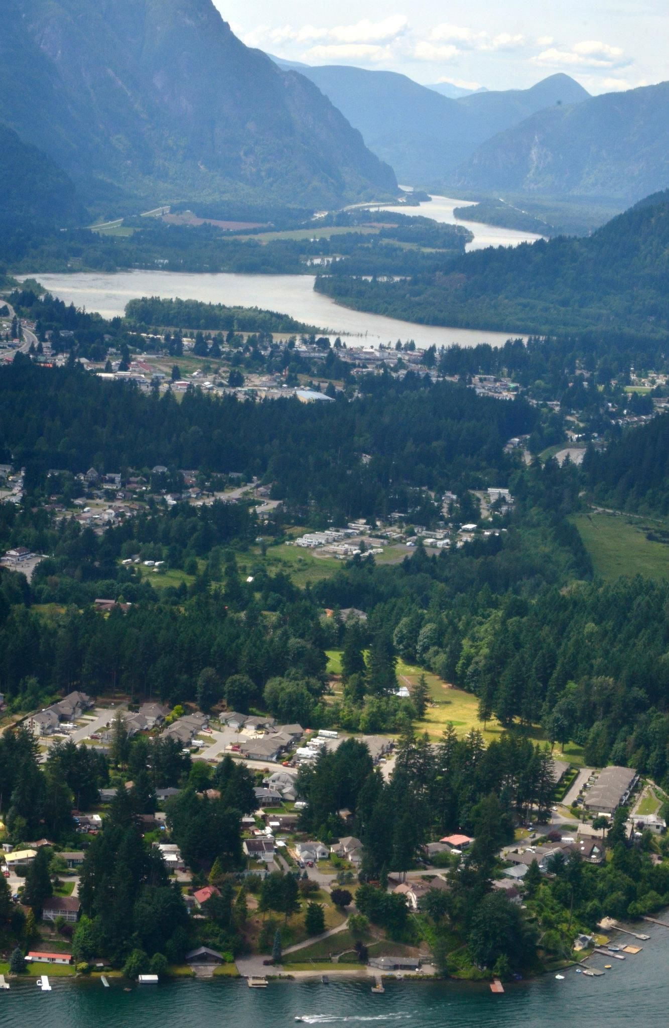View West from air above Kawkawa Lake in Hope BC. Photo by