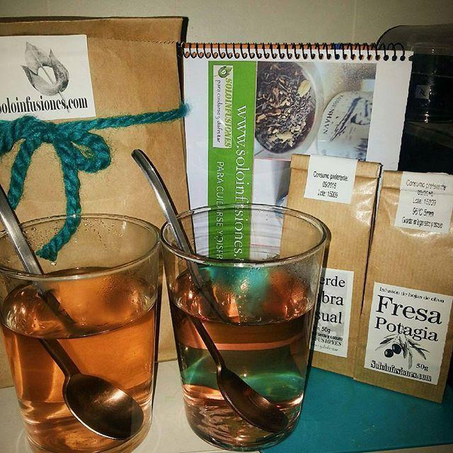 """Cuanto me alegra saber que os gustan mis infusiones! @Regrann from @irene_lgp -  Para acabar el día estamos probando la infusión de """"Fresa Potagia"""" que ayer nos regaló @soloinfusiones  en el #XDesayunoBloggerCoruña.  Me está sorprendiendo el sabor, lleva hojas de olivo, pimienta, fresa... y sabe deliciosa!"""
