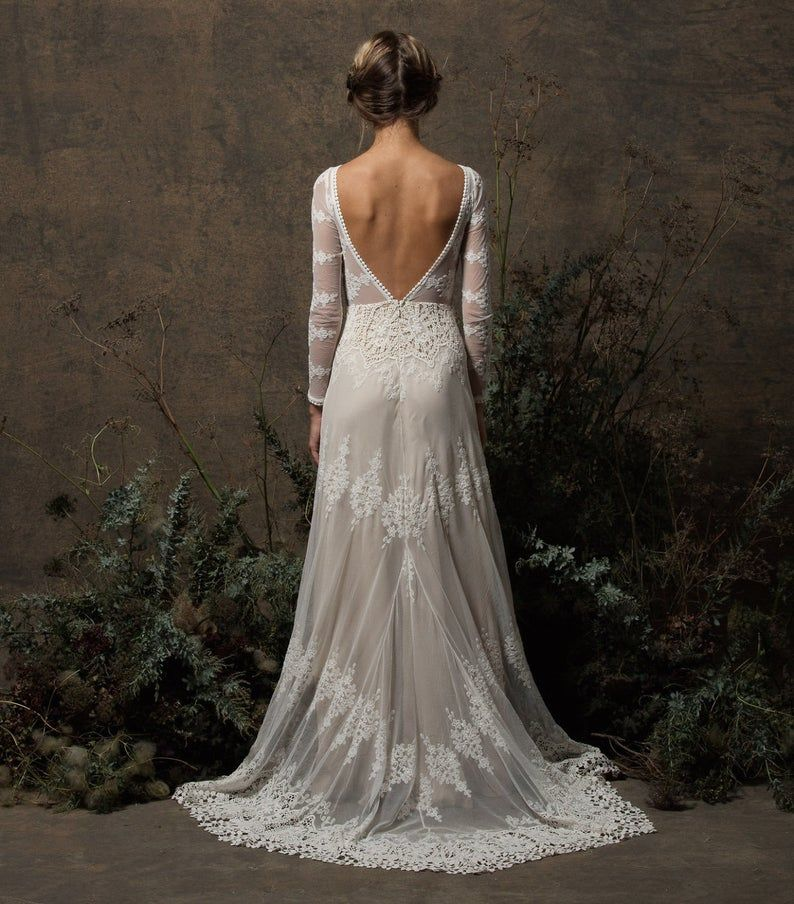 Low Back Wedding Dress, Lace Sleeves, Long Sleeves
