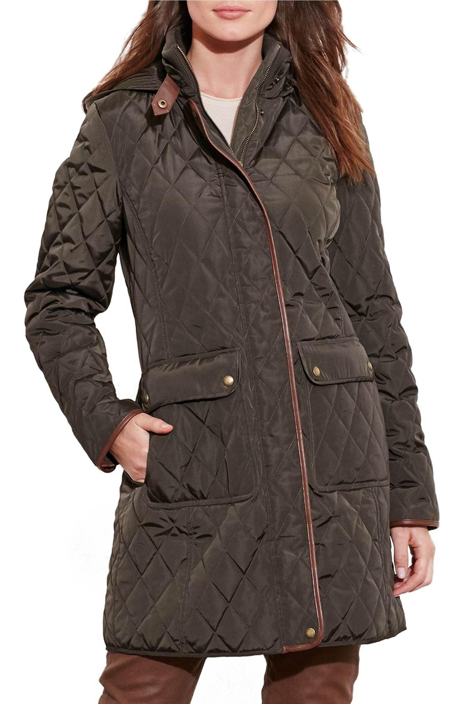 Main Image - Lauren Ralph Lauren Diamond Quilted Coat with Faux Leather Trim (Regular & Petite)