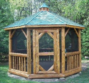 Screened Rustic Log Gazebo Great Idea Rustic Retreats