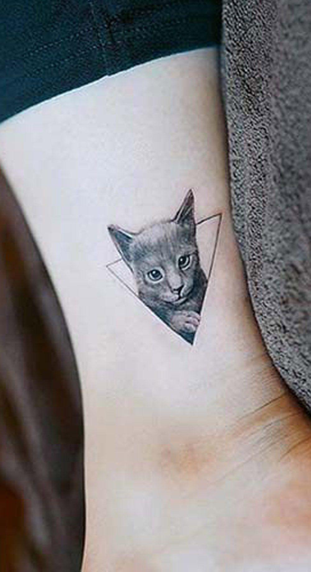 c85636ff0c0b9 Geometric Realistic Cat Portrait Ankle Leg Tattoo Ideas for Women - ideas  de tatuaje de tobillo de gato pequeño - www.MyBodiArt.com