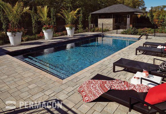 Piscine zen avec pavé #piscine #pierre Piscine creusée Pinterest - prix piscine enterree couverte